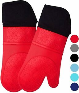 HOMWE Extra Long Professional Silicone Oven Mitt Oven Mitts with Quilted Heat