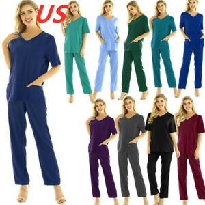 US Medical Doctor Nursing Men Women Scrub Set Top Pants Hospital Uniform Costume