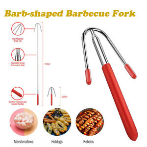 Bonfire Party Marshmallow Barbecue Stick Telescopic Hot Dog Extension Fork