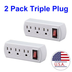 Grounded Triple Plug Outlet On/Off Power Switch, UL Listed, White, 2-Pack