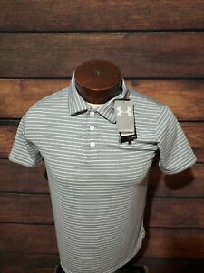 Under Armour Heat Gear Youth Extra Large Gray White Striped Short Sleeve Golf... $24.97