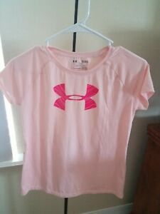 Girls Kids Youth Under Armour Shirt Short Sleeve Pink Big logo Top XLarge $12.99
