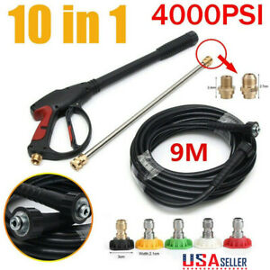 4000PSI High Pressure Washer Spray Gun Wand Lance Nozzle Tips Kit 29.5FT Hose $40.66