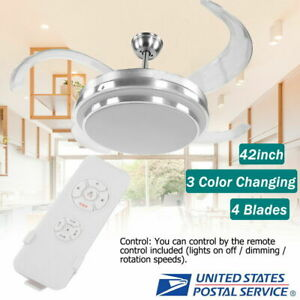 42quot; Retractable Ceiling Fan Lamp w Light Remote Control Dimmable LED Chandelier