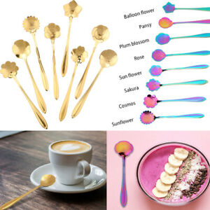 8pcs set Stainless Steel Flower Shape Coffee Spoon Ice Cream Spoons Tea Spoon