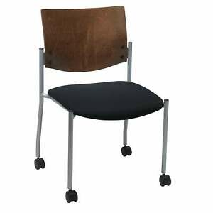 KFI Evolve Guest Chair Armless with a Chocolate Wood Back