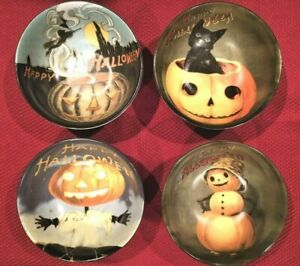 Williams Sonoma VINTAGE HALLOWEEN Candy Cereal Soup Bowls Mixed Set of 4 NEW/NIB