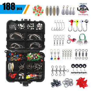 Fishing Accessories Kit【188PCS】 Set with Tackle Box Beans Floats Hooks Swivels
