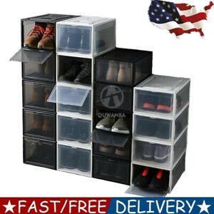 Clear Stackable Shoe Organizer Boxes Sneaker Storage Black Display shoes for AJ
