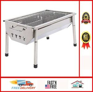 Charcoal Grill Barbecue Portable BBQ - Stainless Steel Folding BBQ Kabab Grill C
