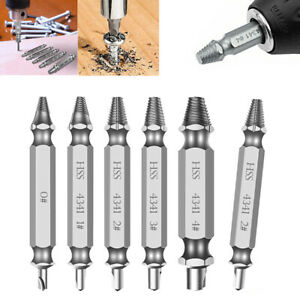 6Pcs Damaged Screw Extractor Set Speed Out Drill Bits Broken Bolt Remover Tool