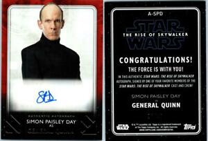 2020 STAR WARS THE RISE SKYWALKER SERIES 2 AUTOGRAPH SIMON PAISLEY DAY QUINN 26