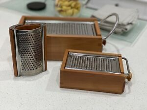 Twergi (Alessi) Pear Wood Cheese Grater  - set of 3