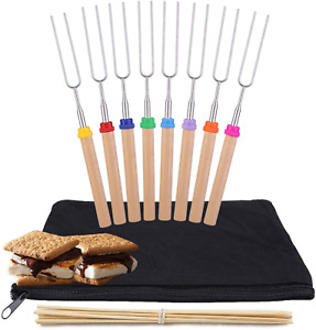 Telescoping Marshmallow Roasting Sticks Set Of 8 Hot Dog Forks  Smores Skewers