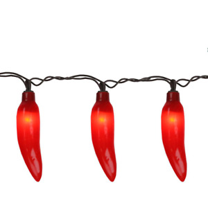 35-Count Red Chili Pepper Patio String Light Set, 22.5 ft. Brown Wire