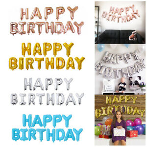 16quot; Happy Birthday Banner Balloons Letter Set Rose Gold Kids Party Decorations