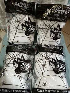 Stretchy Spider Web Cob Web Halloween Haunted House Decoration - 4 Bags from US