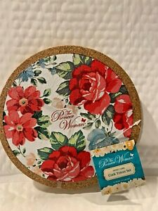 THE PIONEER WOMAN VINTAGE FLORAL DESIGN SET OF 2 CORK TRIVETS BEAUTIFUL