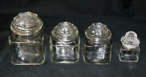 Set of 4 Apothecary Clear Glass Jars