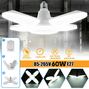 60W Deformable Garage Lights Bulb LED Bright Ceiling Fixture Work Shop Lamp E27