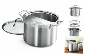 Tramontina 80120/509DS Lock & Drain Pasta Cooker Pot with Strainer Lid, 18/8 Sta