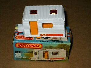 Matchbox Superfast No. 31 - Caravan Camping Trailer - White - NEW w Box