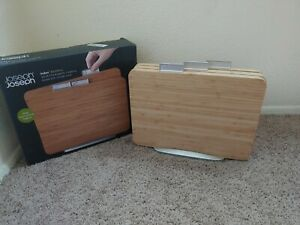 Joseph Joseph Index Bamboo Chopping Cutting Boards with Stand Lightly Used Set