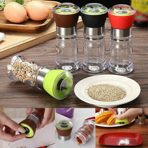 US Salt Pepper Spices Grinder Set Brushed Stainless Steel Mill Plastic Bottle