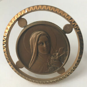 Medal Religious Antique On Base Brass Virgin Marie REF58399 $27.14