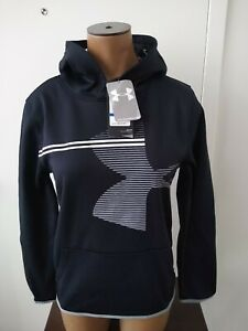Boys Under Armour Coldgear Pullover Hoodie Size Youth XL Black Grey White NWT! $19.99