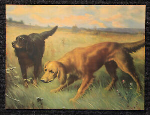 ORIGINAL Large Vintage 1930's Lithograph Print of Dogs Hunting $4.99