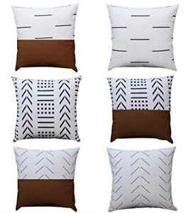 6Set Throw Pillow Covers and Cases Modern Design Cotton and Faux Leather 18x18in