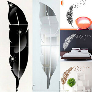 3D Feather Mirror Wall Sticker Room Decal Mural Art DIY Home Decoration Hot