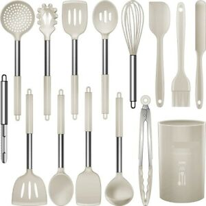Cooking Utensils Set Stainless Steel Khaki Silicone Cooking Tool For Kitchen