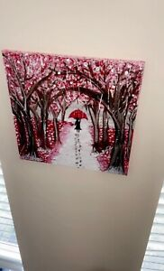 forest painting girl umbrella