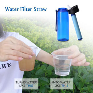 4-Stage Water Purifier Bottle+Filter Straw for Camping,Hiking,Backpacking Travel