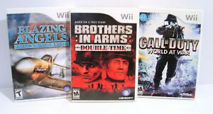 Call Duty World at War BLAZING ANGELS Brothers in Arms Nintendo Wii 3 Game Lot $14.95