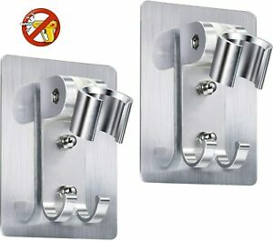 2pcs Shower Head Holder Strong Adhesive Wall Mounting Bracket Adjustable Shower