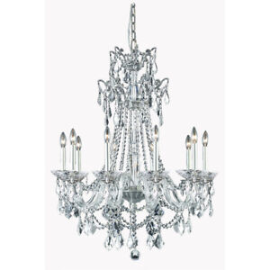 CRYSTAL CHANDELIER PEWTER FOYER DINING LIVING ROOM CEILING FIXTURE 10 LIGHT 40