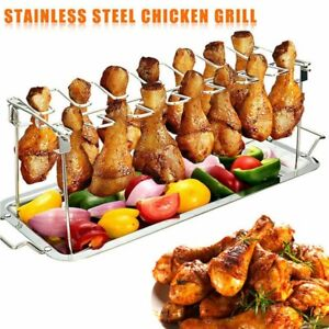 12 Slot Chicken Leg Wing Drumstick Oven BBQ Grill Rack Roasting Smoker