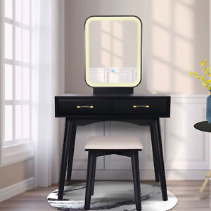 Vanity Table Set with Lighted LED Touch Screen Dimming Mirror for Makeup