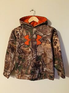 Under Armour Realtree Camo Orange Boys Sweatshirt Hoodie L Camping Fishing Hunt $9.99
