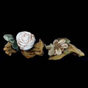 Grouping of Two 2 Vintage Driftwood and Marble Sculptures Modeled After Flower $200.00