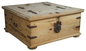 Rustic Pine Old World Double Trunk Coffee Table Chest Case Southwestern 35