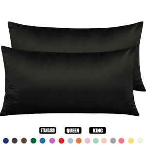 2 Pack Silky Pure Satin Pillowcase King Queen Standard For Hair Skin With Zipper
