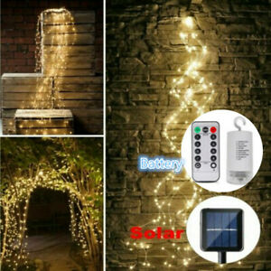 100 200 LEDs Solar String Light Tree Vines Copper Wire Fairy Lamp Xmas Party