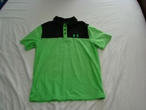 Pre owned Green and Black Under Armour Youth Large Golf Shirt. In good condition $5.00