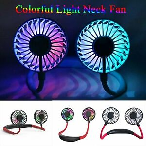 Portable Rechargeable Adjusted Neckband Neck Hanging Fan Personal Mini LED Fan