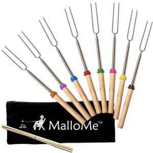 Campfire Cooking Marshmallow Roasting Stick Set 8 Telescoping Forks 32 Fire Pit