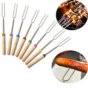 Stainless Steel Outdoor Camping BBQ Forks Roasting Sticks Skewers Telescoping